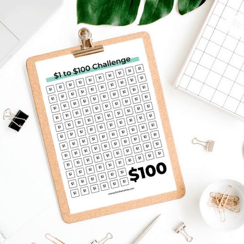 $1 to $100 money savings challenge