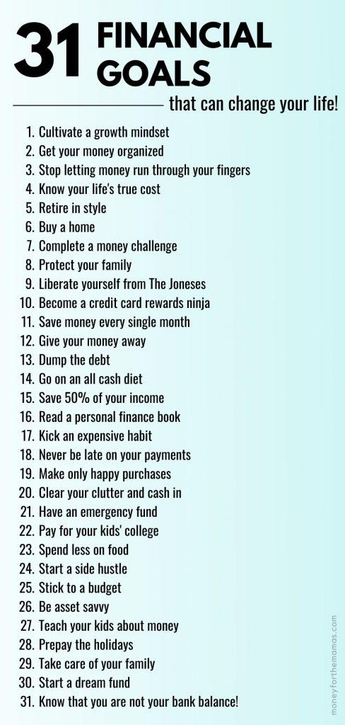 31 days of financial goals list