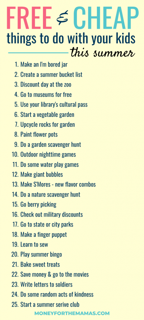 25 free and cheap things to do with your kids this summer
