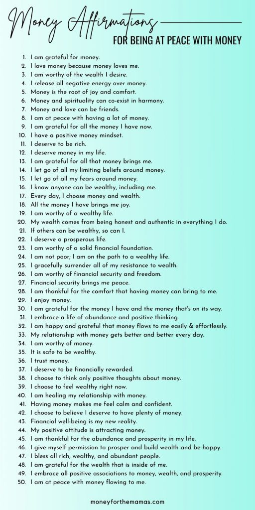money affirmations for being at peace withyour money