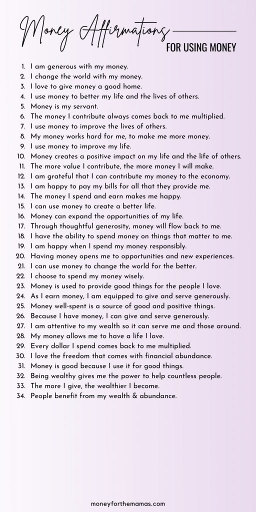 money affirmations for using money