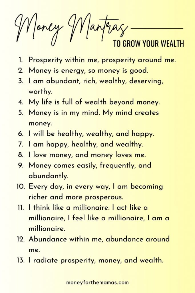 money mantras to grow your wealth