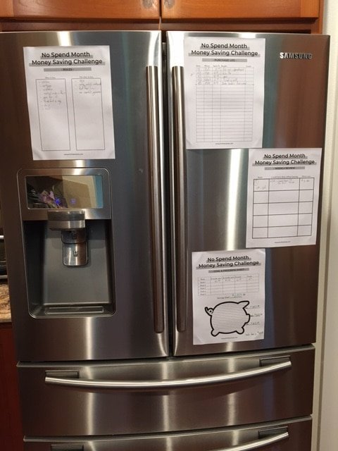 fridge with no spend month printables