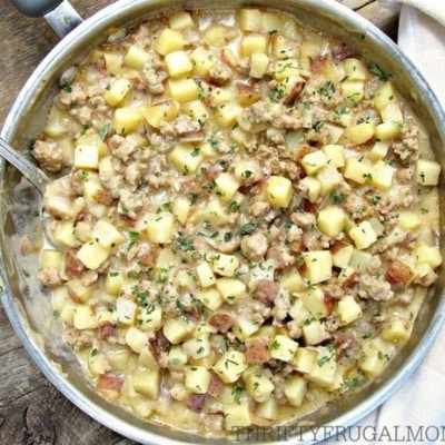 creamy sausage and potatoes from thriftyfrugalmom