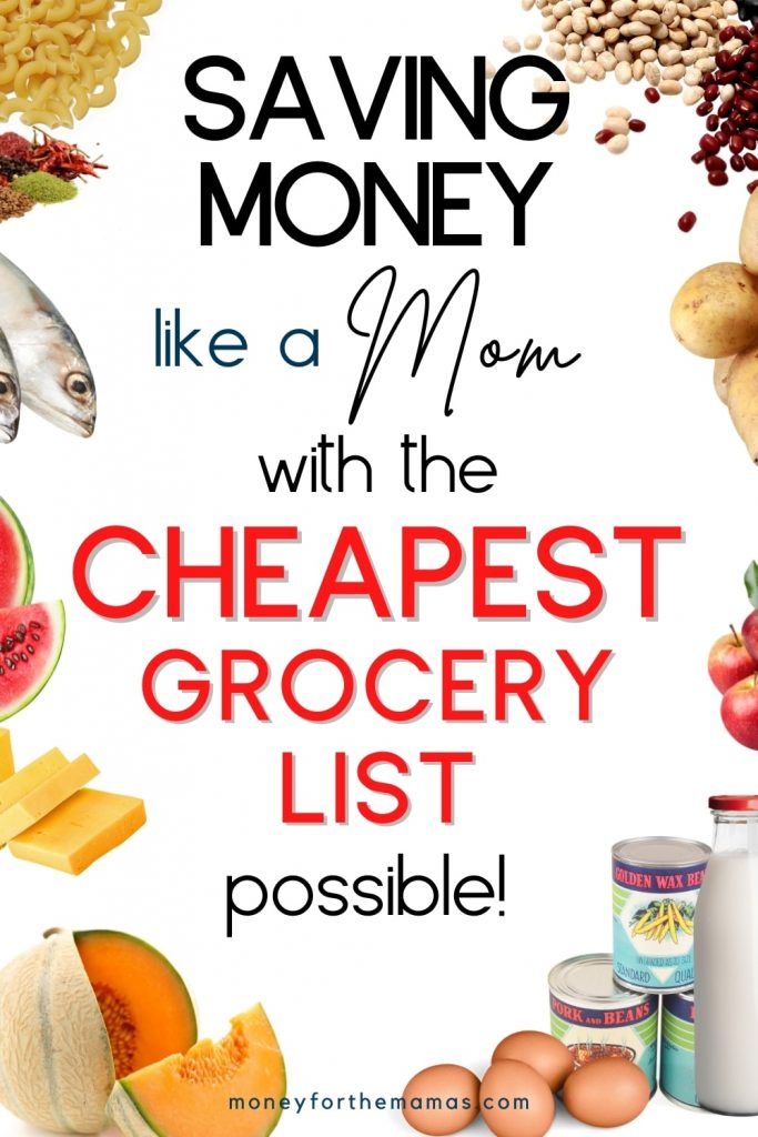 saving money like a MOM with the cheapest grocery list possible